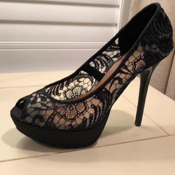 Black Lace Platform Heels